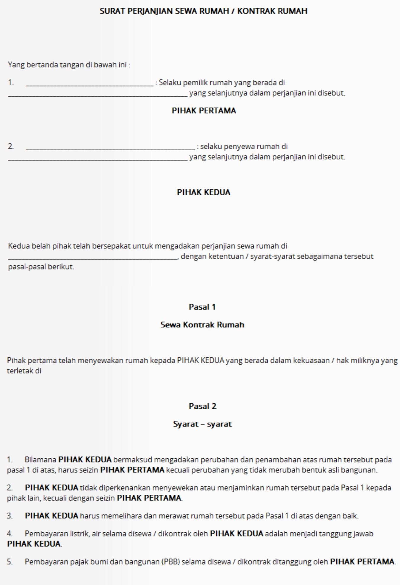 Contoh Surat Perjanjian Kontrak Sewa Rumah Di Solo Griya