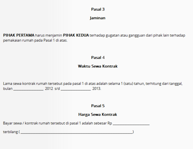 Contoh Surat Perjanjian Kontrak Sewa Rumah Di Solo 2 Griya