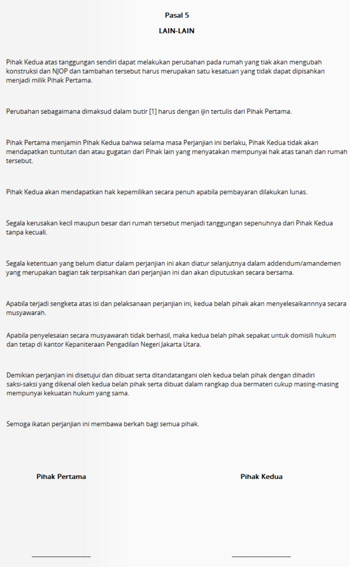 Surat Perjanjian Jual Beli Rumah Di Solo 3 Griya Propertindo